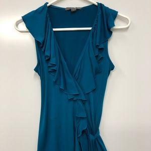 Twenty one teal ruffle wrap tank dress Size S